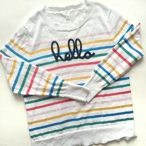 Time & Tru | Rainbow Happy Sweater Size L